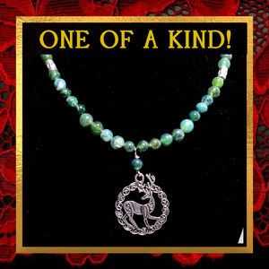 Celtic Stag & Green Agate Necklace #567